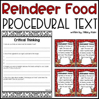 Reindeer Food Procedural Text Passage