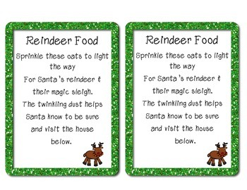 Reindeer Food Recipe-Compare/Contrast, visuals, sequencing