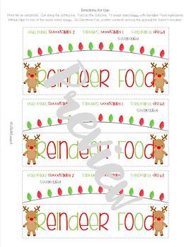 Reindeer Food Tag and Recipe