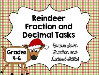 Reindeer Fraction and Decimal Math Tasks {Christmas Math Center}