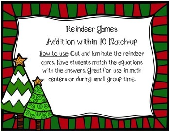 Reindeer Games - Addition within 10