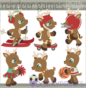 Reindeer Games Christmas Clip Art