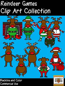 Reindeer Games Clipart Collection- Color/Blackline-Commercial Use