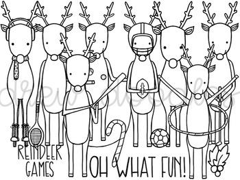 Reindeer Games Digital Clip Art Set- Black Line Version