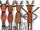 Reindeer Games Digital Clip Art Set- Black Line Version