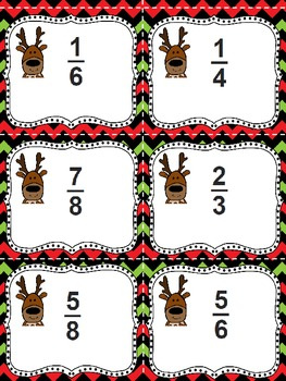 Fraction Fun Matching Game - Reindeer Games