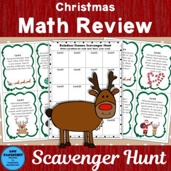 Christmas Math Review Scavenger Hunt