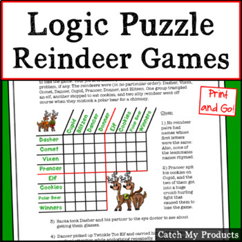 Reindeer Games Matrix Logic (Thinking Activity for Gifted