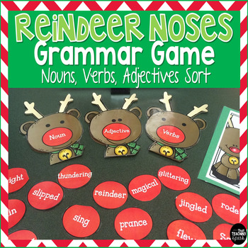 Reindeer Games with Nouns, Verbs, Adjectives Sort