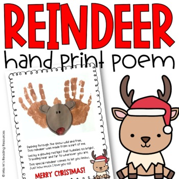 Reindeer Hand Print Poem Art Project