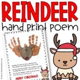 Reindeer Hand Print Poem Art Project