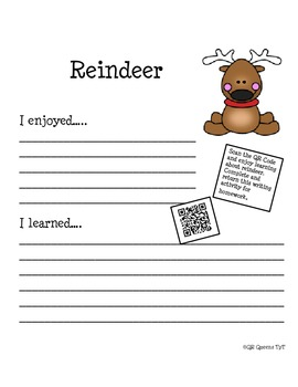 Reindeer Homework Fun using QR Codes (School to Home Connections)