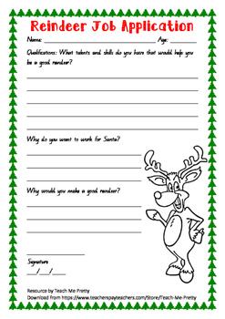 Reindeer Job Application - Christmas writing task