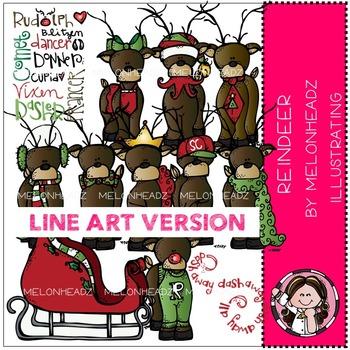 Reindeer clip art - LINE ART- by Melonheadz