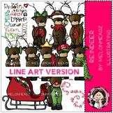 Reindeer clip art - LINE ART- Melonheadz clipart