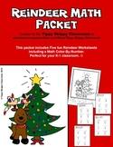 Reindeer Math Packet for Kindergarten and First Grade