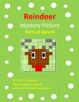 Reindeer Mystery Picture Parts of Speech