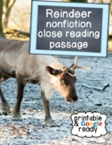 Reindeer Nonfiction Christmas Close Reading Comprehension Passage and Questions