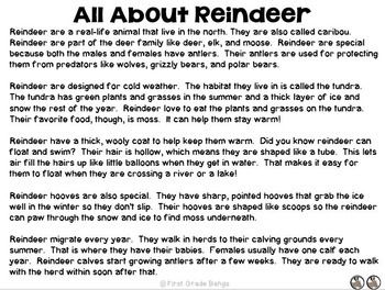 Reindeer Nonfiction Close Reading & Visual Vocabulary Unit