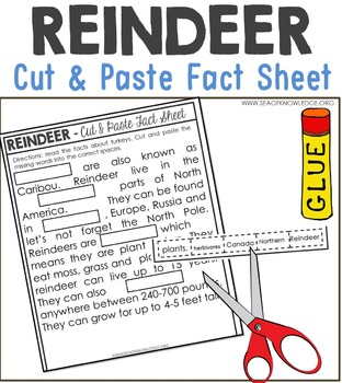 Reindeer Nonfiction Facts Cut and Paste Worksheet