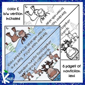 Reindeer Nonfiction Flip book and Craft Activity