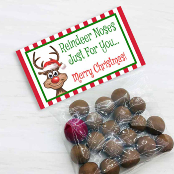 Reindeer Noses Bag Toppers for Christmas Parties, Holiday Treat Bags w/ Rudolph