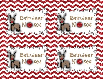 Reindeer Noses Treat Bag Label, Printable Tag