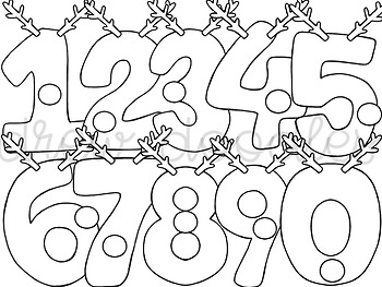 Reindeer Numbers- Color and Black Line Versions