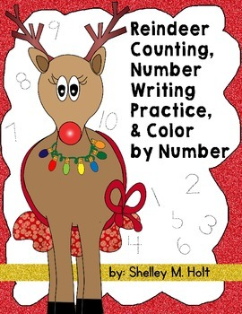 Reindeer Numbers, Counting, and Color by Number