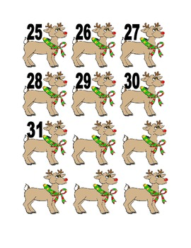 Reindeer Numbers for Calendar or Counting Activity