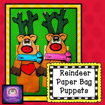 Reindeer Paper Bag Puppet  December Craft