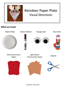 Reindeer Paper Plate - Visual Directions - Art Project