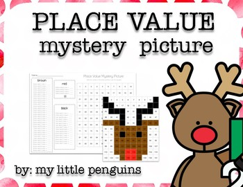 Reindeer Place Value Mystery Picture (No Prep)