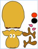Reindeer Printable Character - Cut and Paste *Bonus Coloring Page