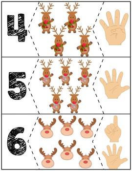 """Reindeer Quantity Puzzles #1-10   """"Show me fingers"""" Version"""