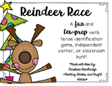 Reindeer Race- Identifying Verbs and Verb Tenses Game or Hall Hunt