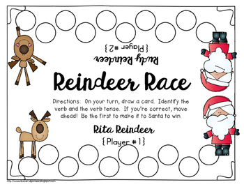 Reindeer Race- Identifying Verbs and Verb Tenses Game or Hall Hunt