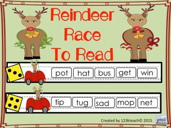 Reindeer Race to Read Short Vowel/ Nonsense Words