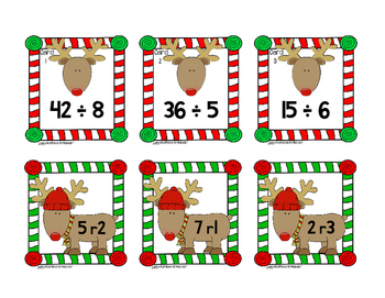 Reindeer Remainders Matching Cards {4.NBT.6}