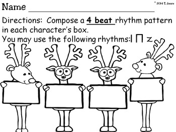 Rhythm Reindeer 2 {Quarter Rest Rhythm Pattern Fun}