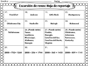 Reindeer Roadtrip: South | Task Card Version, Spanish