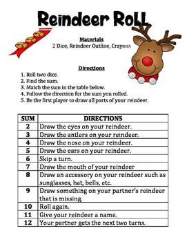 Reindeer Roll - A December Math and Art Activity to Practice Adding 2 Numbers