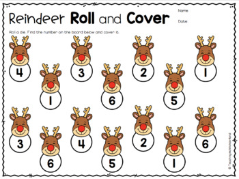 Reindeer Roll and Cover Activity Packet