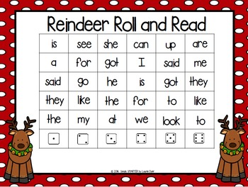 Reindeer Roll and Read:  NO PREP Christmas Themed Sight Word Game