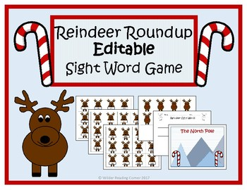 Reindeer Roundup Editable Sight Word Game- December Literacy Center