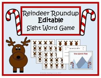Reindeer Roundup Editable Sight Word Game- December Literacy Center
