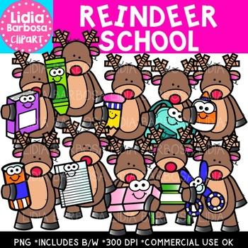 Reindeer School Clipart {Lidia Barbosa Clipart}