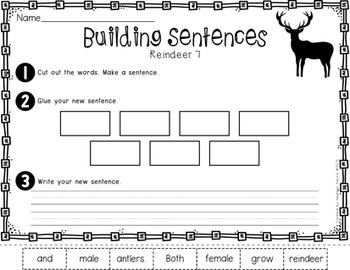 Reindeer Sentence Builders
