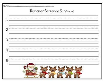 Reindeer Sentence Scramble - Differentiated Center Game