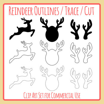 Reindeer Shadows, Outlines and Dotted / Dashed Tracing Lines for Christmas